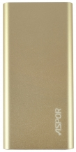 УМБ Power Bank Aspor  A383 10000mAh (2USB/1A+2.1А) Ultrathin metal gold