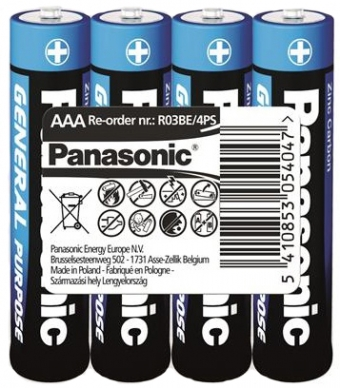 Panasonic  GENERAL PURPOSE R3 TRAY 4 ZINK-CARBON (R03BER/4PR)