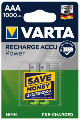 Varta  RECHARGEABLE ACCU AAA 1000mAh BLI 2 NI-MH (READY 2 USE)