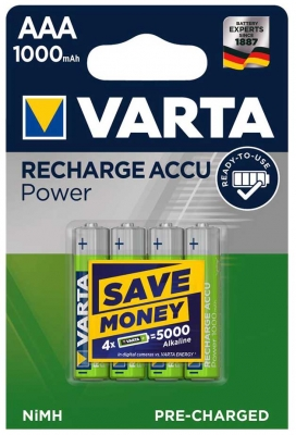 Varta  RECHARGEABLE ACCU AAA 1000mAh BLI 4 NI-MH (READY 2 USE)